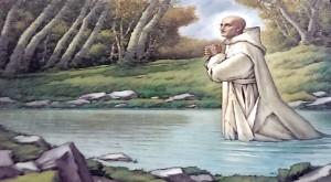 San Bruno in preghiera nell'acqua